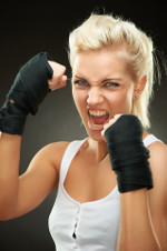 Aggressive young female boxer